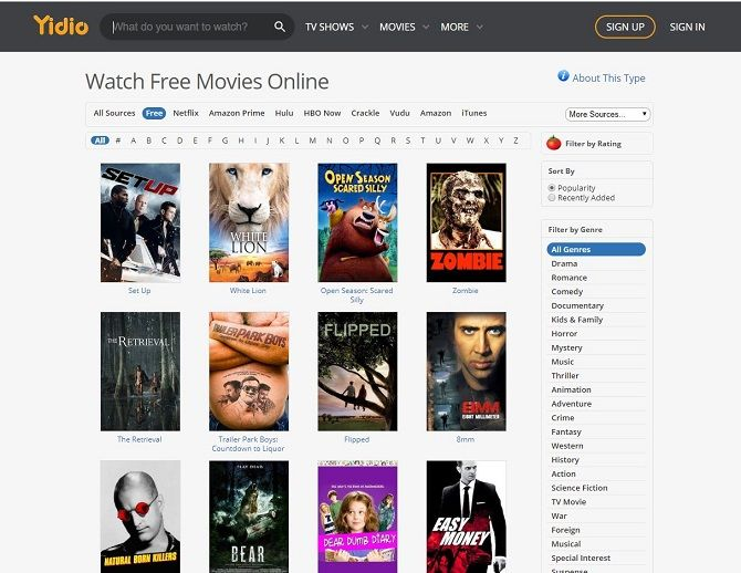Best free movie streaming sites - Yidio