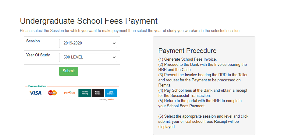 how to pay Futo school fee online
